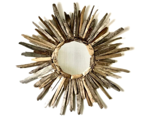 Driftwood sun mirror